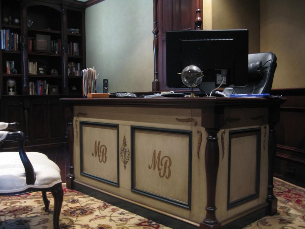 Beautiful Furniture U2013 Custom Desk With Monogram And Antique Finish